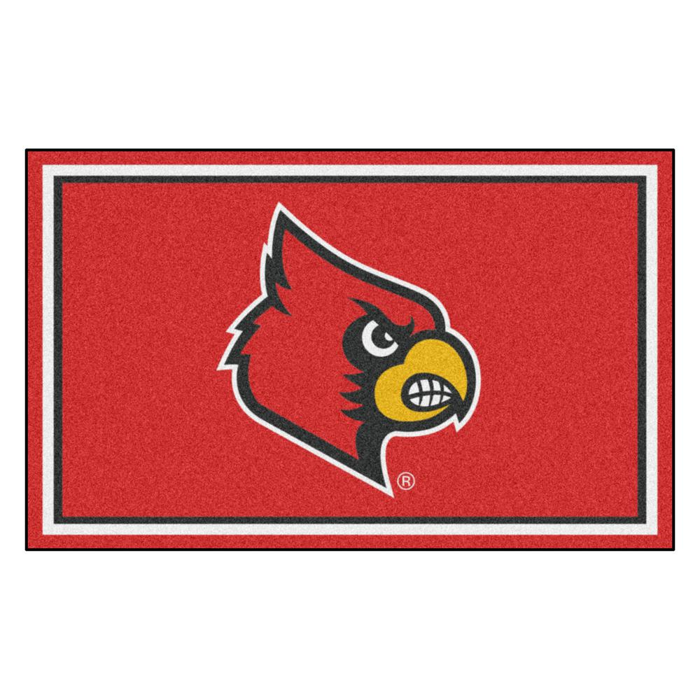 Fanmats Ncaa University Of Louisville Red 4 Ft X 6 Area Rug
