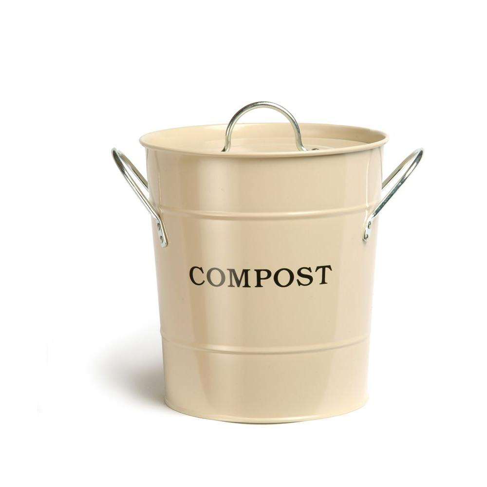 Exaco 2 In 1 Cream/Oatmeal Lid With Rubber Seal Compost Bucket