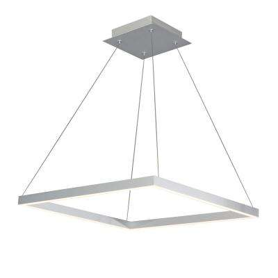 38W Atria Collection 20 in. Silver Integrated LED Adjustable Hanging Modern Square Chandelier