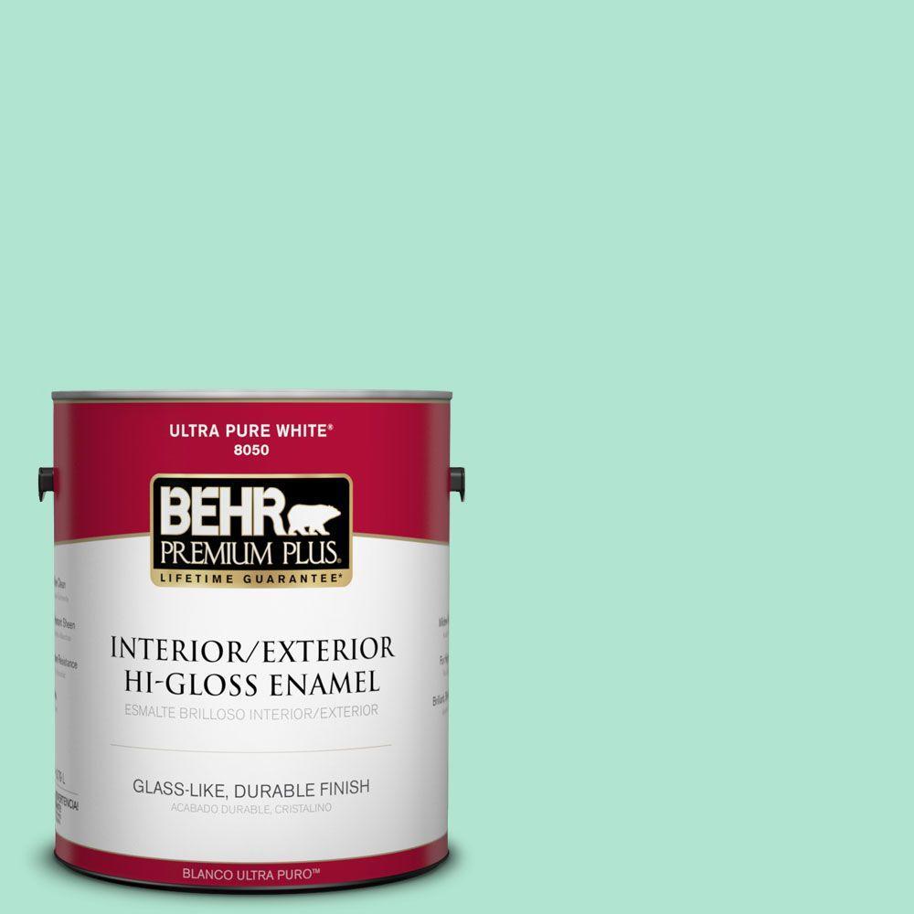BEHR Premium Plus 1-gal. #P420-2 Crystal Rapids Hi-Gloss Enamel Interior/Exterior Paint