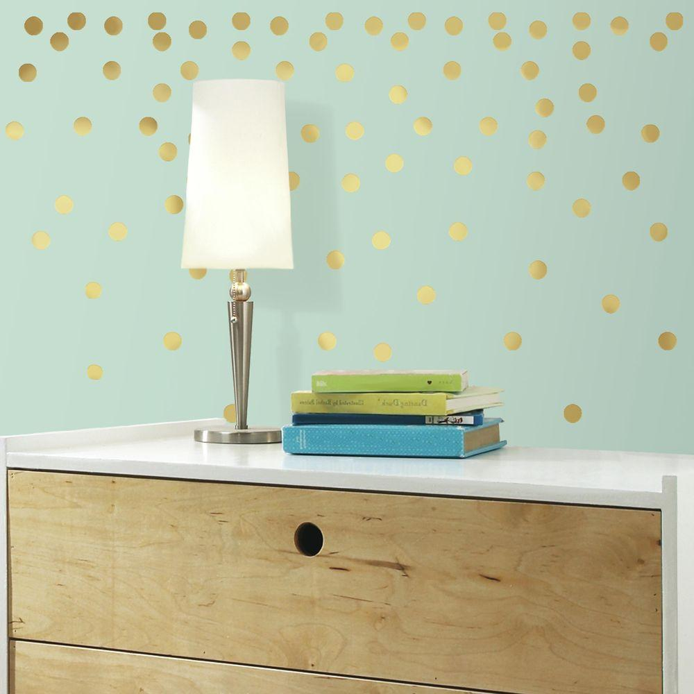 H Gold Confetti Dots 90-Piece & RoomMates 5 in. W x 11.5 in. H Gold Confetti Dots 90-Piece Peel and ...