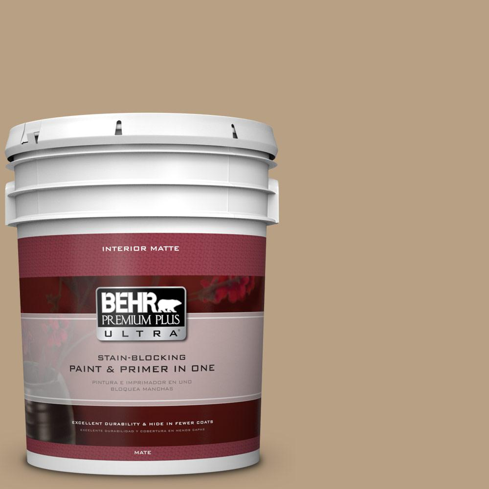 BEHR Premium Plus Ultra Home Decorators Collection 5 gal. #HDC-AC-12 Craft Brown Flat/Matte Interior Paint