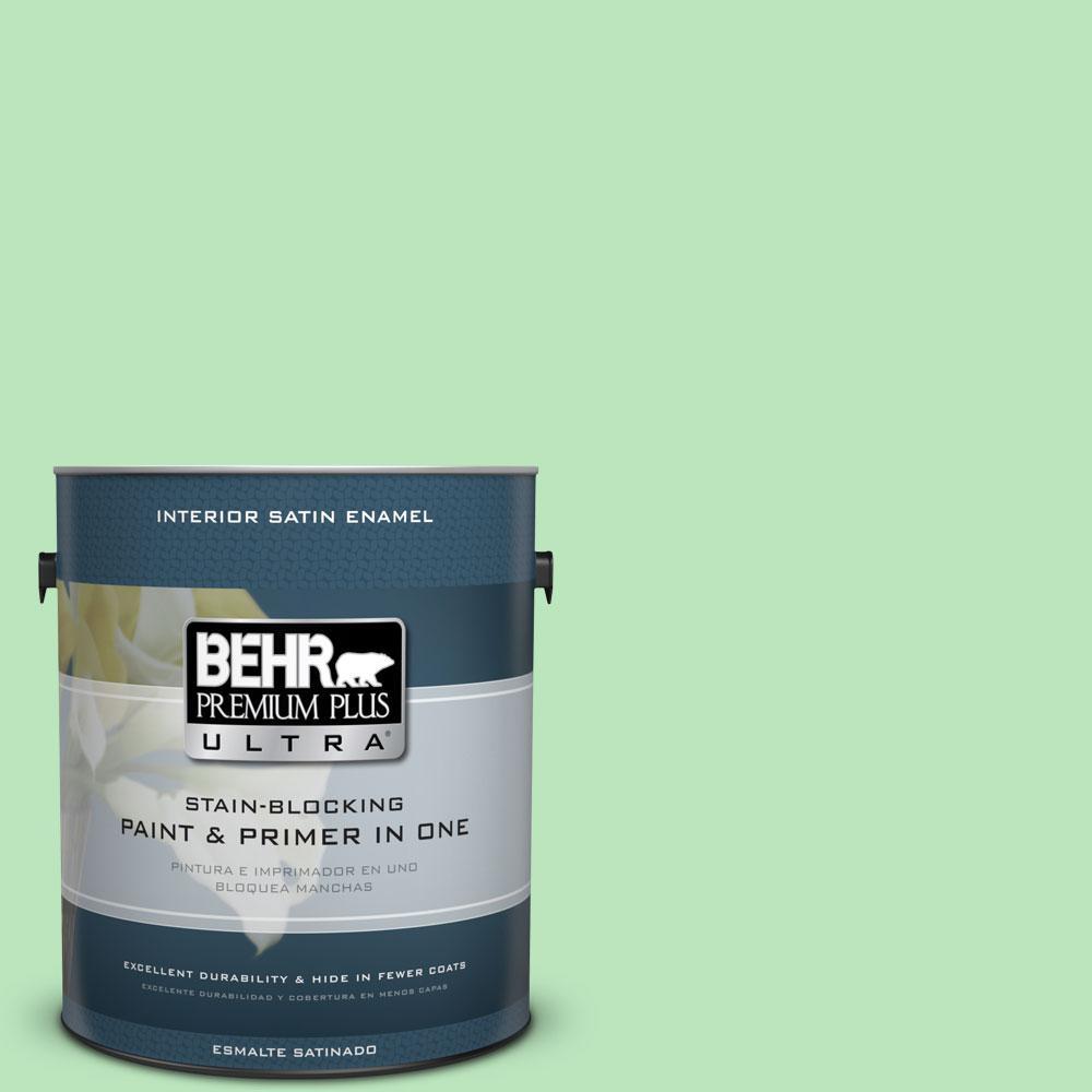 BEHR Premium Plus Ultra 1-gal. #P390-3 Mint Parfait Satin Enamel Interior Paint
