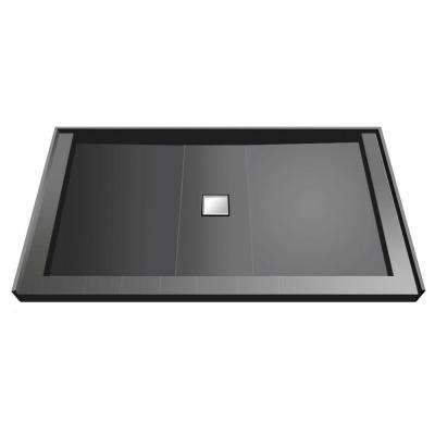 37 in. x 60 in. Triple Threshold Shower Base with Center Drain