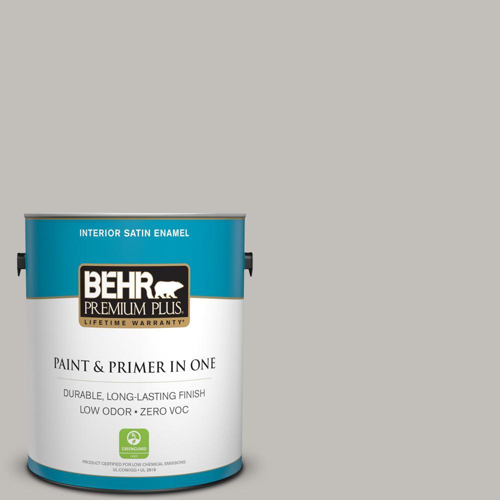 1 gal. #PPU18-10 Natural Gray Zero VOC Satin Enamel Interior Paint