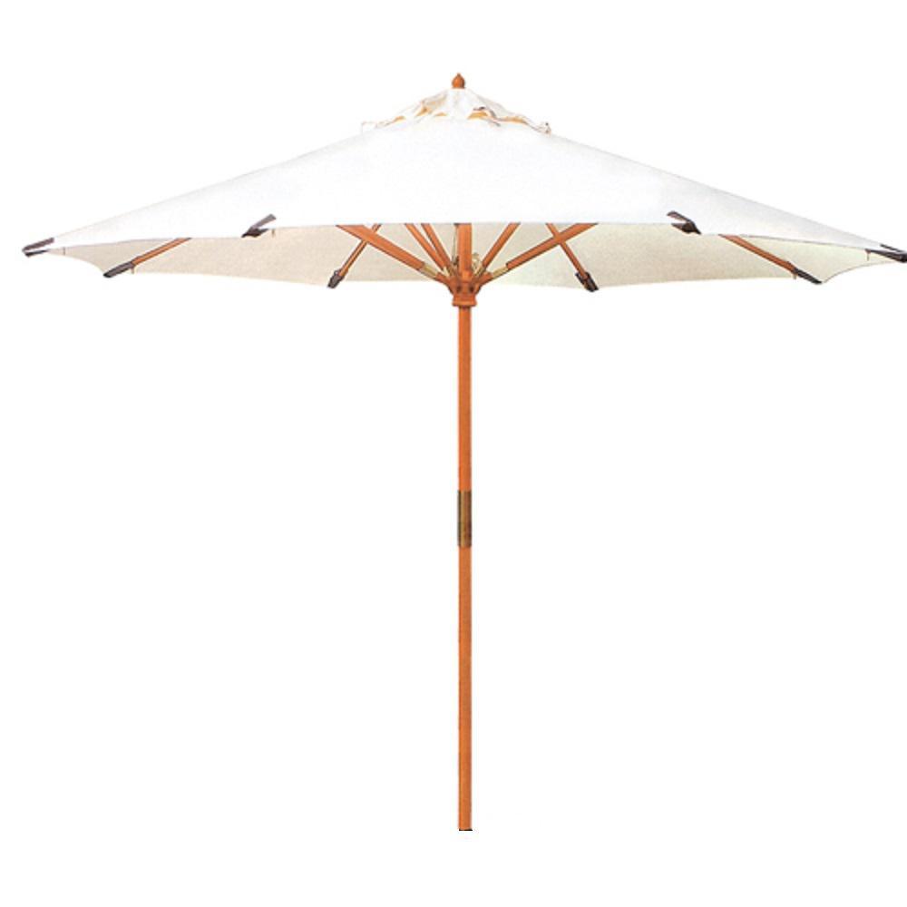 118 in. Dia Teak Market Patio Umbrella in Sunbrella White