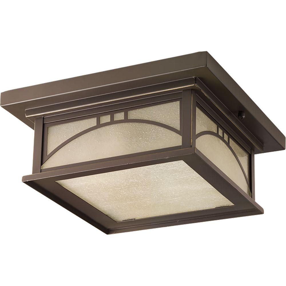 Residence Collection 2-Light Antique Bronze Outdoor Flushmount