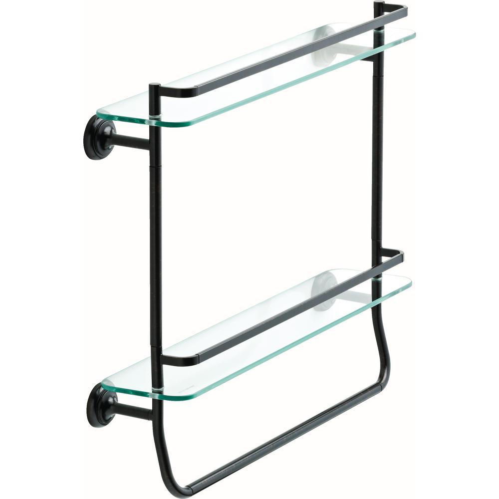 Delta 20 in. Double Glass Shelf with Towel Bar in SpotShield ...