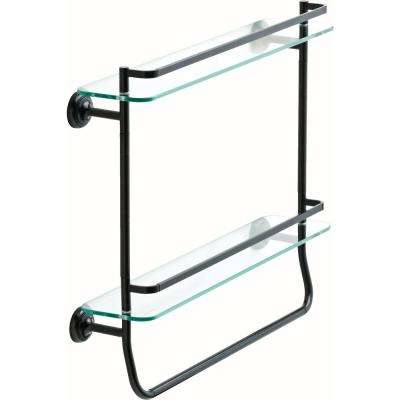 20 in. Double Glass Shelf with Towel Bar in SpotShield Venetian Bronze