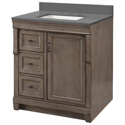 Naples 31 in x 22 in D Vanity in Distressed Grey with Engineered Stone Vanity Top in Slate Grey with Trough White Basin