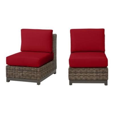 Fernlake Taupe Wicker Armless Middle Outdoor Patio Sectional Chair with CushionGuard Chili Red Cushions (2-Pack)