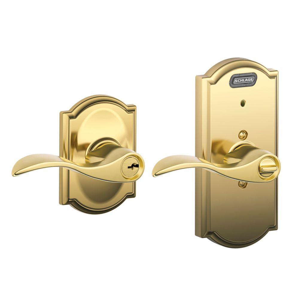 Schlage Bright Brass Keyed Entry Lever with Built-In Camelot Alarm
