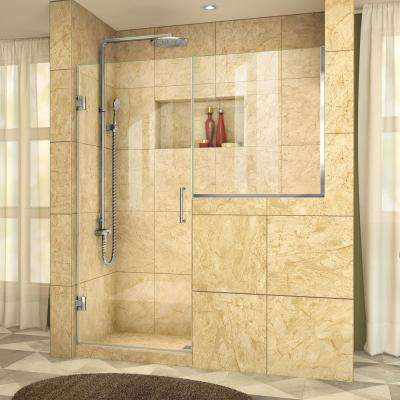 Unidoor Plus 47 in. to 47-1/2 in. x 72 in. Frameless Pivot Shower Door in Chrome with Buttress Panel