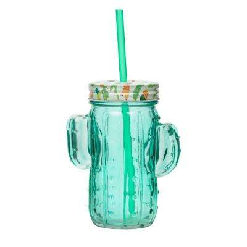 Cactus 4-Piece Green Glass Mason Jar Drinkware Set with Plastic Straws