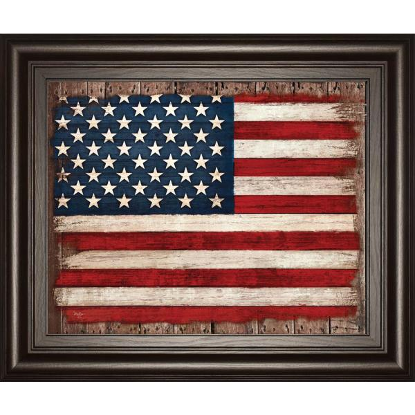 """Classy Art 22 in. x 26 in. """"Old Glory"""" by Mollie B Framed Printed Wall Art"""