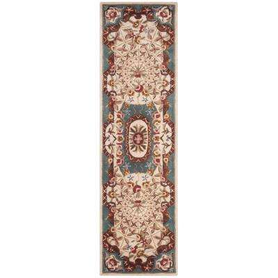 Classic Ivory/Light Blue 2 ft. x 10 ft. Runner Rug