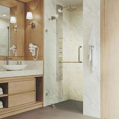 Pirouette 36 to 42 in. x 72 in. Frameless Pivot Shower Door in Brushed Nickel with Clear Glass and Handle