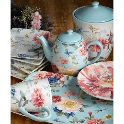 Spring Bouquet 16-Piece Multi-Colored Earthenware Dinnerware Set