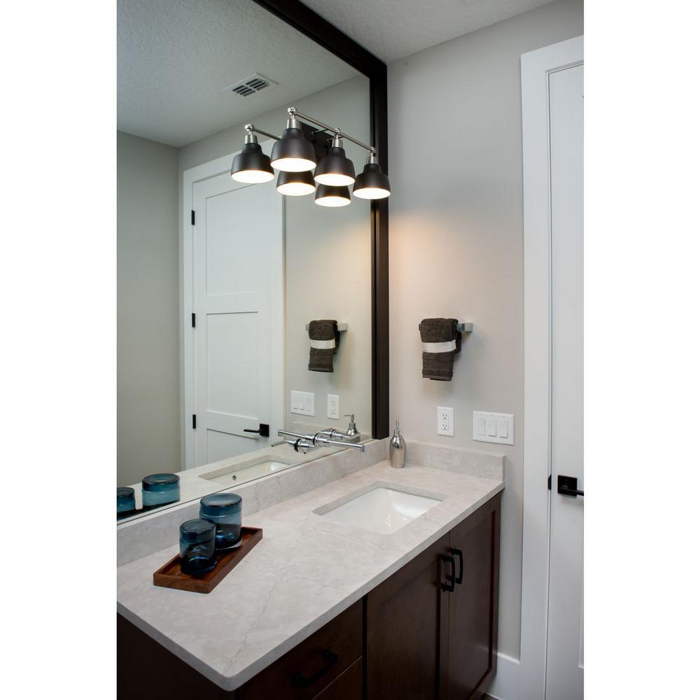 Progress Lighting Bramlett Collection 3 Light Brushed Nickel Bathroom Vanity Light With Matte Black Shades P300041 009 The Home Depot