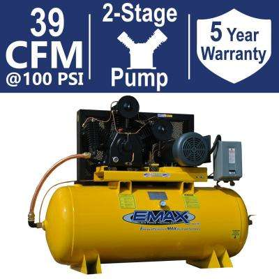 Industrial PLUS Series 120 Gal  10 HP 1-Phase 2-Stage Horizontal Stationary  Electric Air Compressor