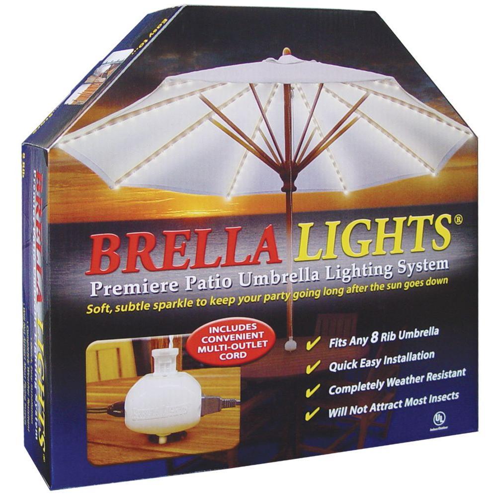 100% SATISFACTION Satisfaction Guaranteed. White Brella Lights Patio Umbrella ...  sc 1 st  eBay & White Brella Lights Patio Umbrella Lighting System W/Power Pod (8 ...