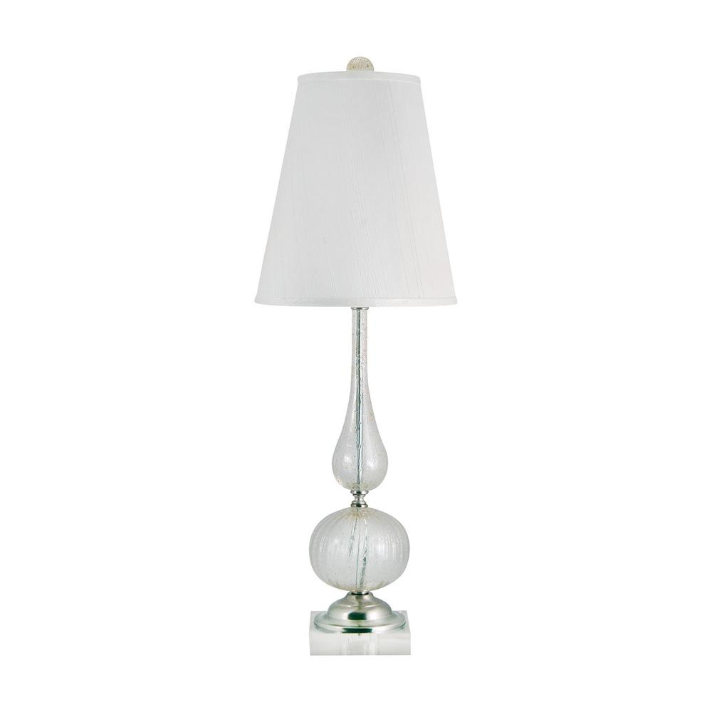 An Lighting Serrated Venetian Gl 33 In Clear And Gold Table Lamp