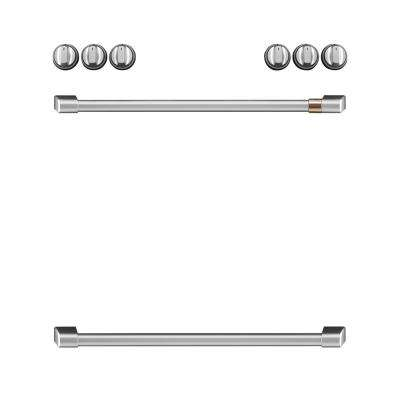 Front Control Induction Range Handle and Knob Kit in Brushed Stainless