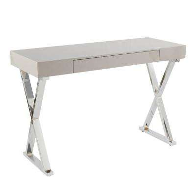 Luster Grey and Chrome Console Table