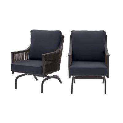 Bayhurst Black Wicker Outdoor Patio Rocking Lounge Chair with CushionGuard Midnight Navy Blue Cushions (2-Pack)
