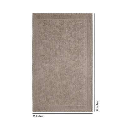 Turkish Cotton Crochet 21 in. x 34 in. Bath Rug in Linen