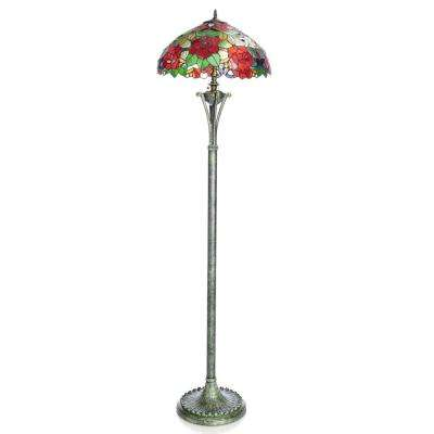 64 in. Multi-Colored Floor Lamp with Stained Glass Rose Shade