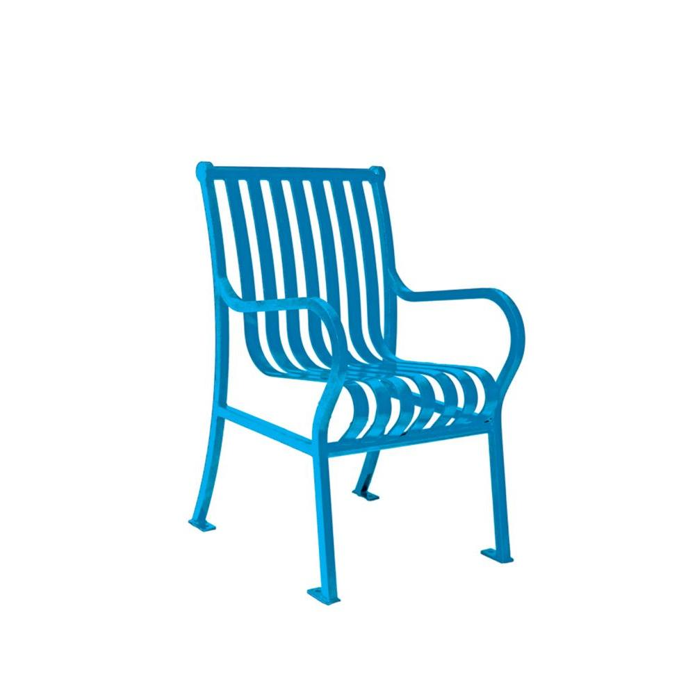 Ultra Play 2 ft. Hamilton Blue Portable Vertical Slats Commercial Park Chair with Arms Surface Mount