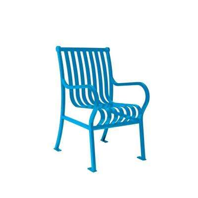 2 ft. Hamilton Blue Portable Vertical Slats Commercial Park Chair with Arms Surface Mount