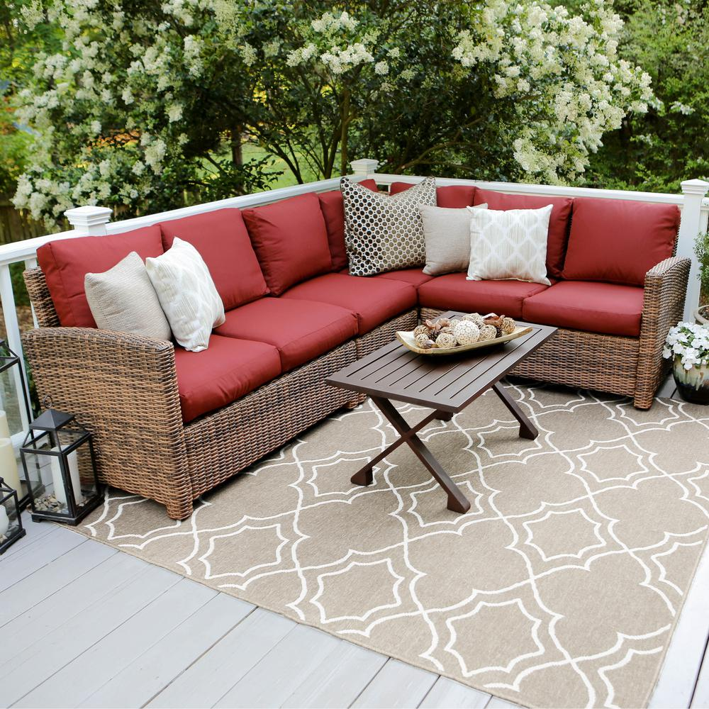 Dalton 5 Piece Wicker Outdoor Sectional Set with Red Cushions