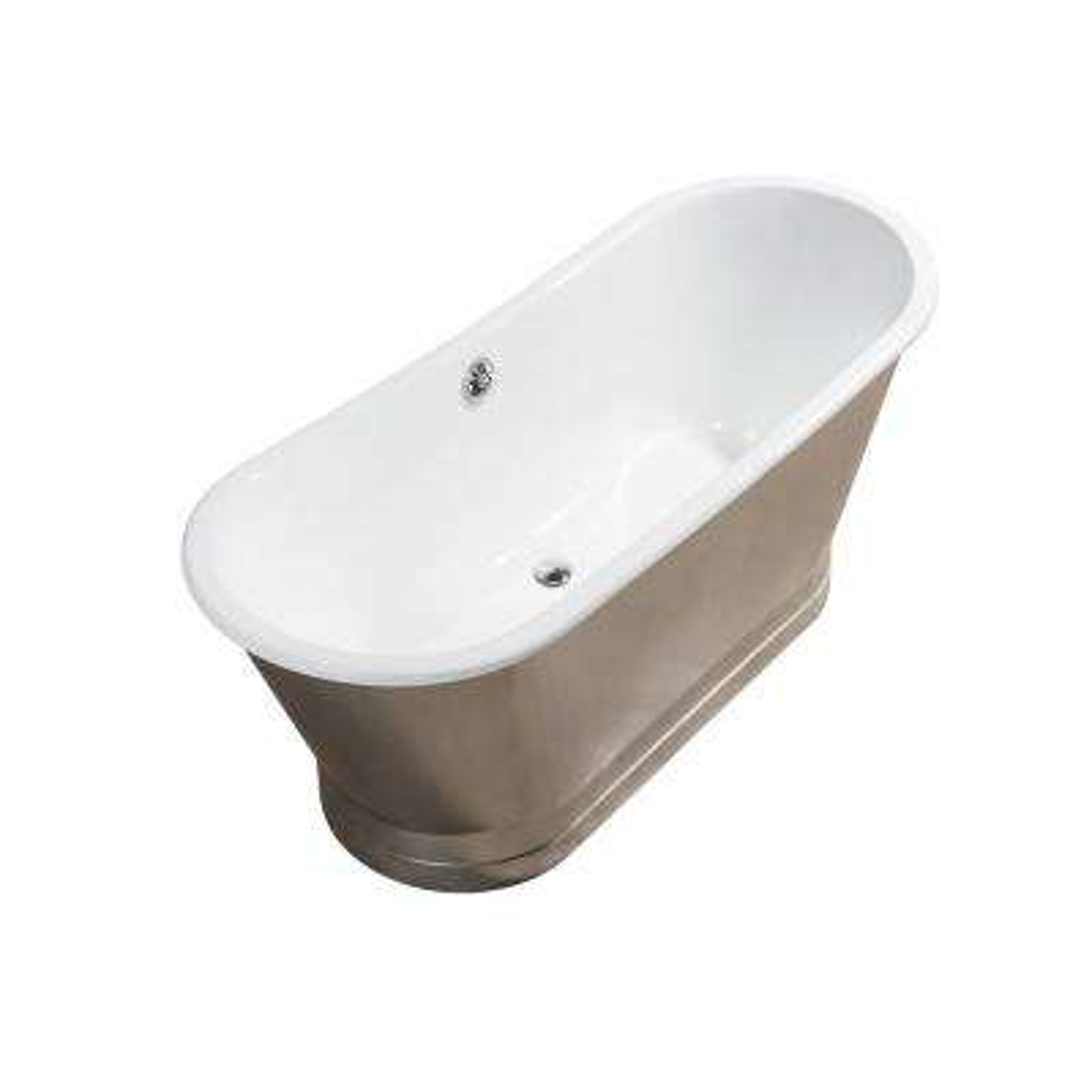 66.9 in. Cast Iron Flatbottom Non-Whirlpool Bathtub in Chrome