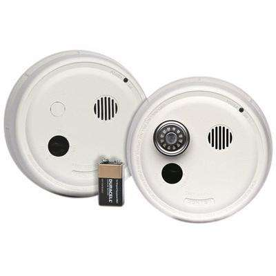 Photoelectric Smoke Alarm, Hardwired with Battery Backup and Isolated Heat Alarm Interconnected Wall Mount