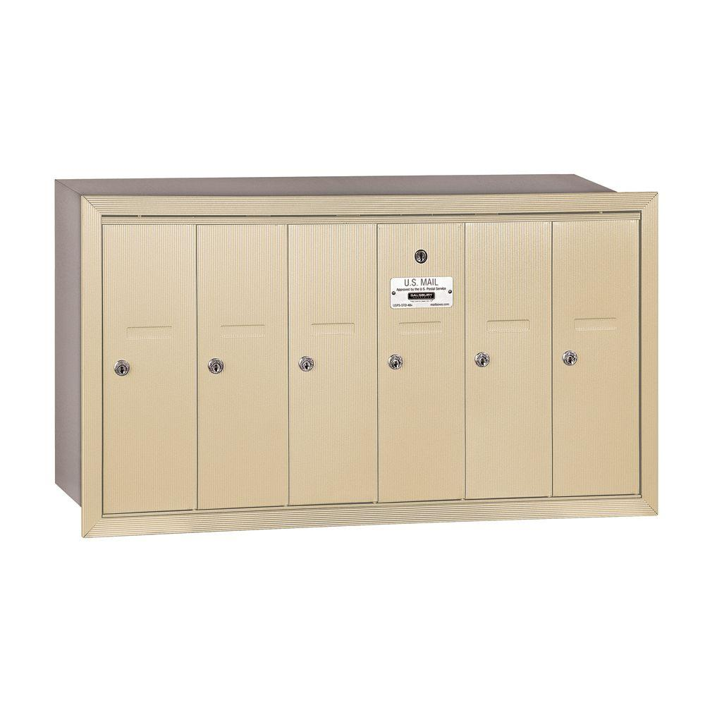Salsbury Industries 3500 Series Sandstone Recessed-Mounted Private Vertical Mailbox with 6 Doors