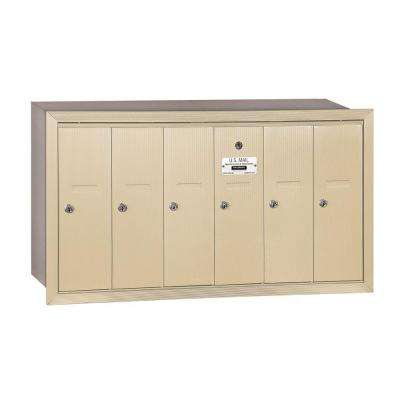 3500 Series Sandstone Recessed-Mounted Private Vertical Mailbox with 6 Doors