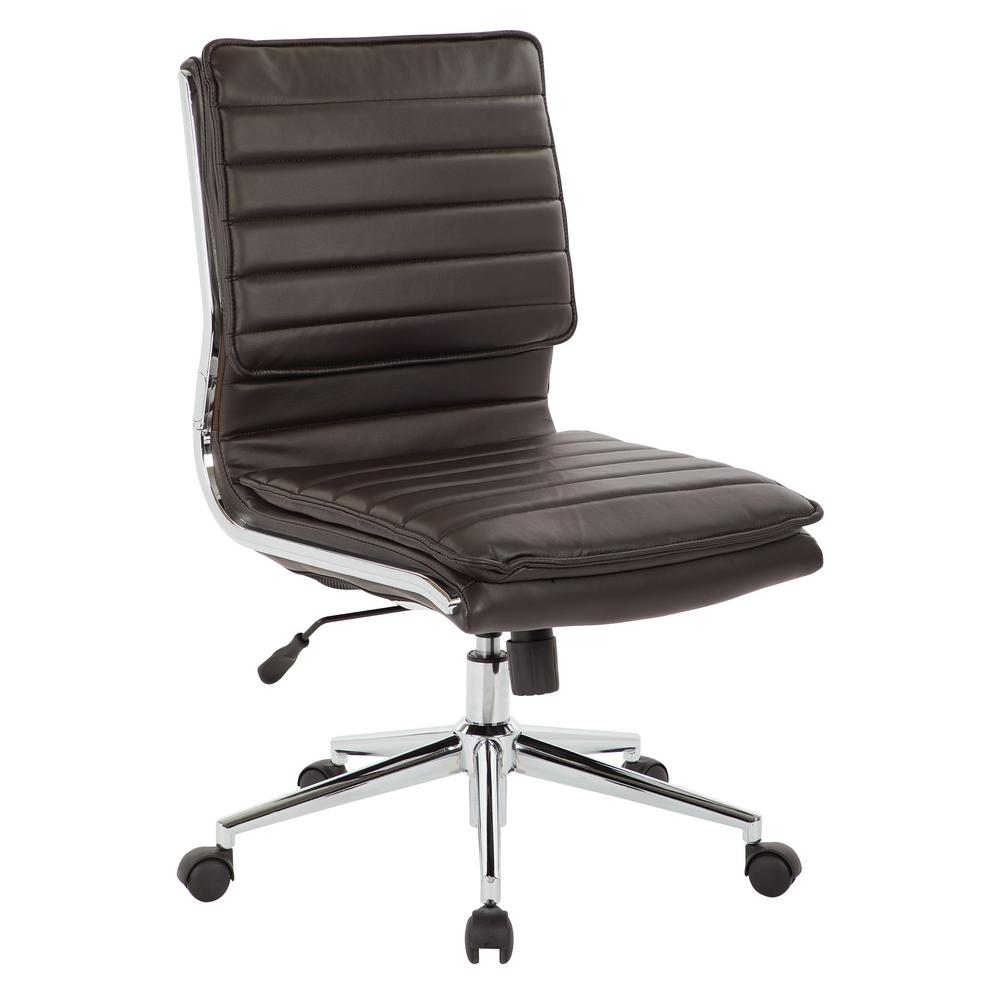 Pro Line II Espresso Armless Mid Back Manageru0027s Faux Leather Chair With  Chrome Base