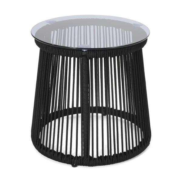 Moonstone 16.50 in. Black Round Metal Outdoor Side Table