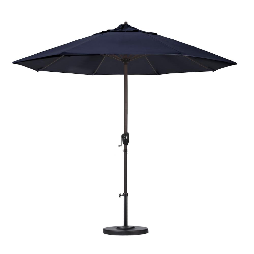California Umbrella 9 Ft. Aluminum Auto Tilt Patio Umbrella In Navy Blue  Olefin