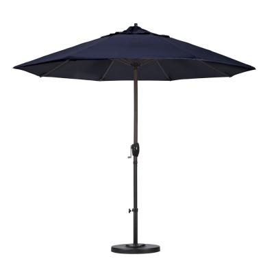 9 ft. Aluminum Auto Tilt Patio Umbrella in Navy Blue Olefin