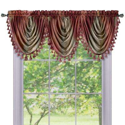 Semi-Opaque Ombre Waterfall 42 in. L Polyester Valance in Burgundy
