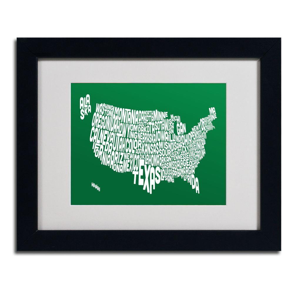 11 in. x 14 in. USA States Text Map - Forest