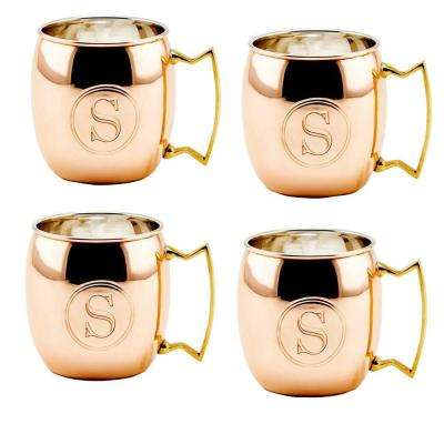 Monogram S 16 oz. Solid Copper Moscow Mule Mugs (Set of 4)