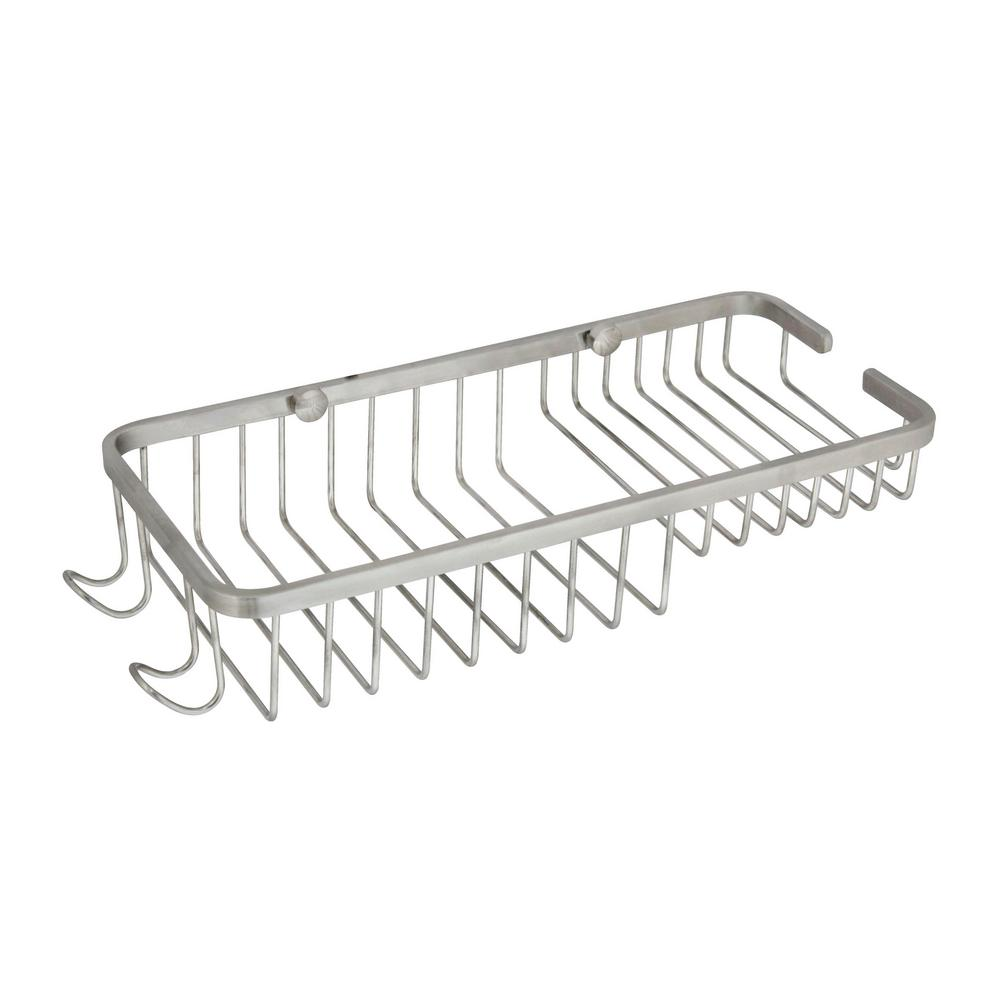 Large 11 in. Stainless Steel Wall Mounted Soap and Bottle Basket