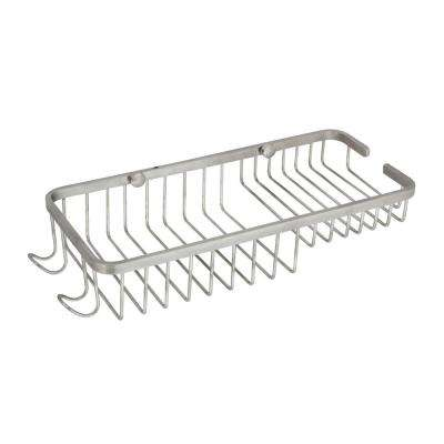 Large 11 in. Stainless Steel Wall Mounted Soap and Bottle Basket in Satin Nickel