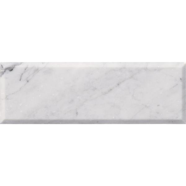 Arabescato Carrara Beveled 4 in. x 12 in. Honed Marble Wall Tile (5 sq. ft. / case)