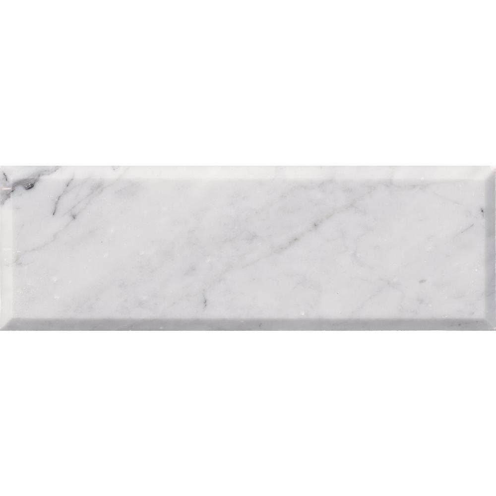 Arabescato Carrara 4 in. x 12 in. Honed and Beveled Marble