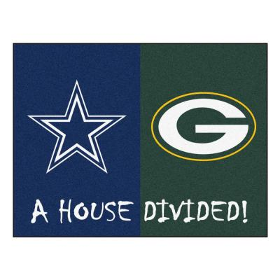 NFL House Divided - Packers / Cowboys 33.75 in. x 42.5 in. House Divided Mat Area Rug